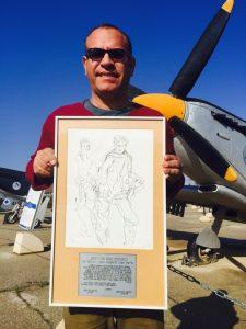 ציורו של נחום גוטמן - עזר וייצמן כטייס צעיר בחיל האוויר.